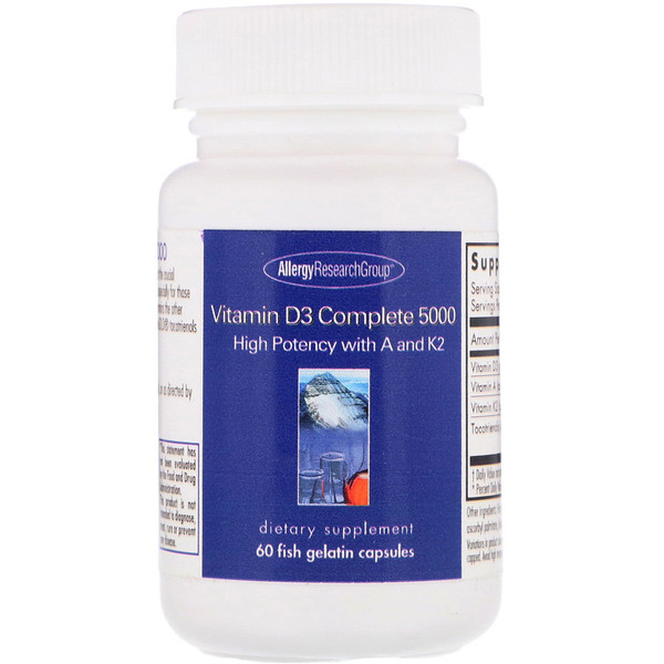 Allergy Research Group, Vitamina D3 Completa 5000, 60 cápsulas de gelatina de pescado