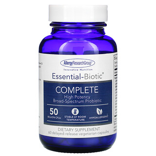 Allergy Research Group, Essential-Biotic Complete, 50 Billion CFUs, 60 Delayed-Release Vegetarian Capsules