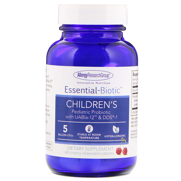 品牌從A - ZAllergy Research Group類別嬰幼兒兒童健康兒童益生菌:Allergy Research Group, Essential-Biotic, Children's, 60 Cherry Chewable Tablets