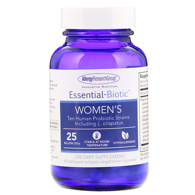 Купить Allergy Research Group Essential-Biotic, Women's, 60 Delayed-Release Vegetarian Capsules