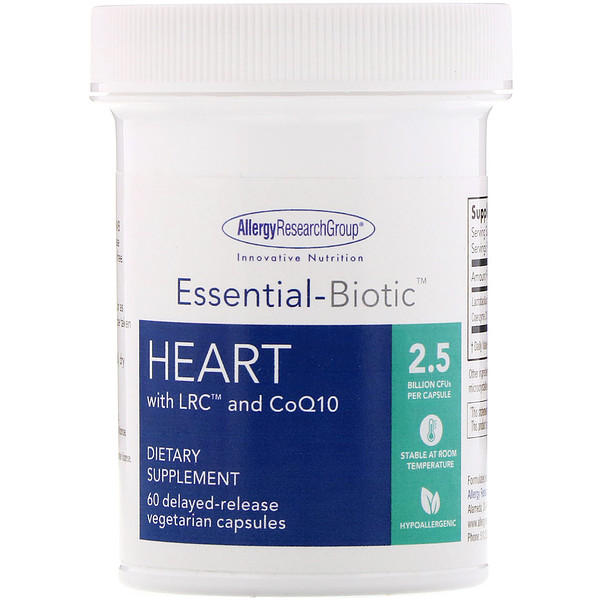 Allergy Research Group, Essential-Biotic, Heart with LRC and CoQ10, 2.5 Billion CFU, 60 Delayed-Release Vegetarian Capsules