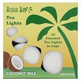 Отзывы о Aloha Bay, Восковые кокосовые свечи, чайные огоньки, без запаха, белые, 12 шт.