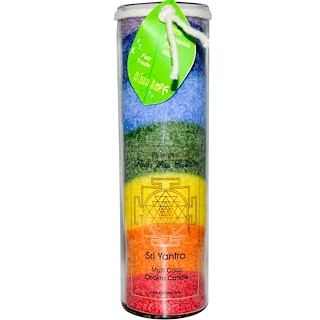 Aloha Bay, Palm Wax Candle, Sri Yantra, Multi Color Chakra Candle, 17 oz