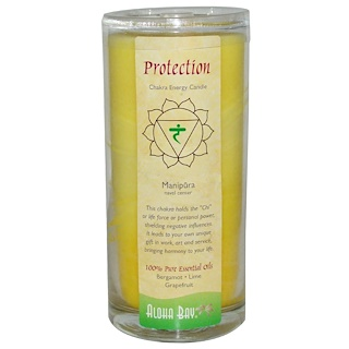 Aloha Bay, Chakra Energy Candle, Protection, Yellow, 11 oz, 1 Candle