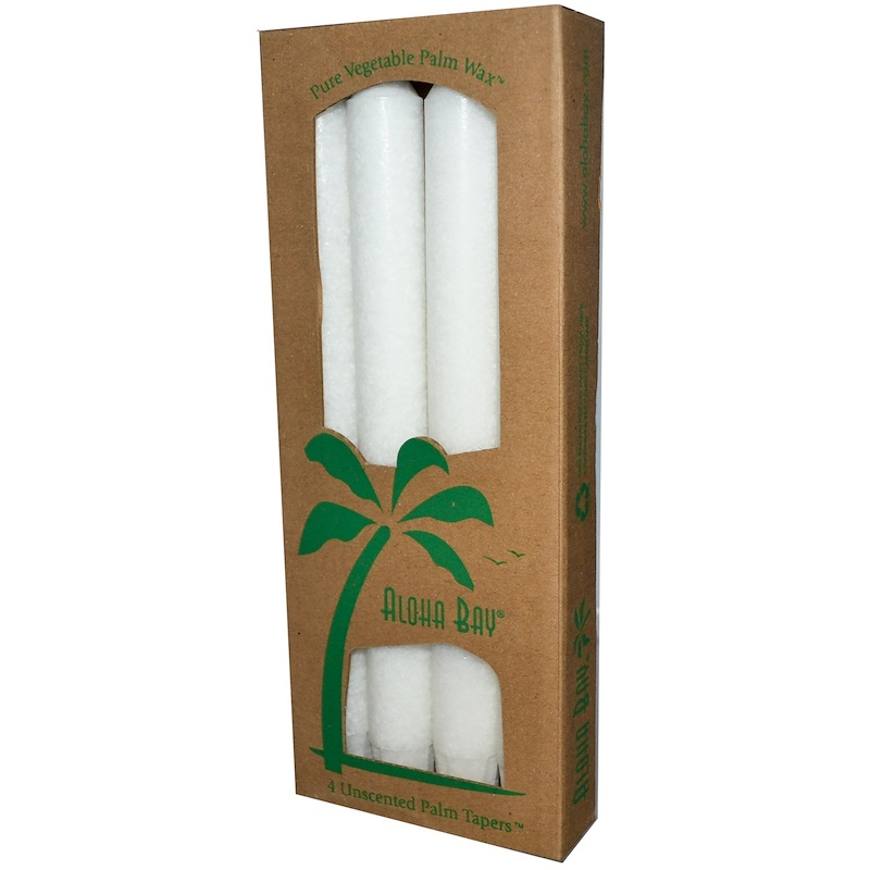 Palm Wax Taper Candles, Unscented, White, 4 Pack, 9 in (23 cm) Each