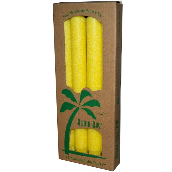 Aloha Bay, Palm Wax Taper Candles, Unscented, Yellow, 4 Pack, 9 in (23 cm) Each (Discontinued Item)