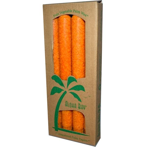 Aloha Bay, Конические свечи из пальмового воска, без запаха, оранжевый цвет 4 упаковки, 9 дюймов (23 см) каждый (Discontinued Item)