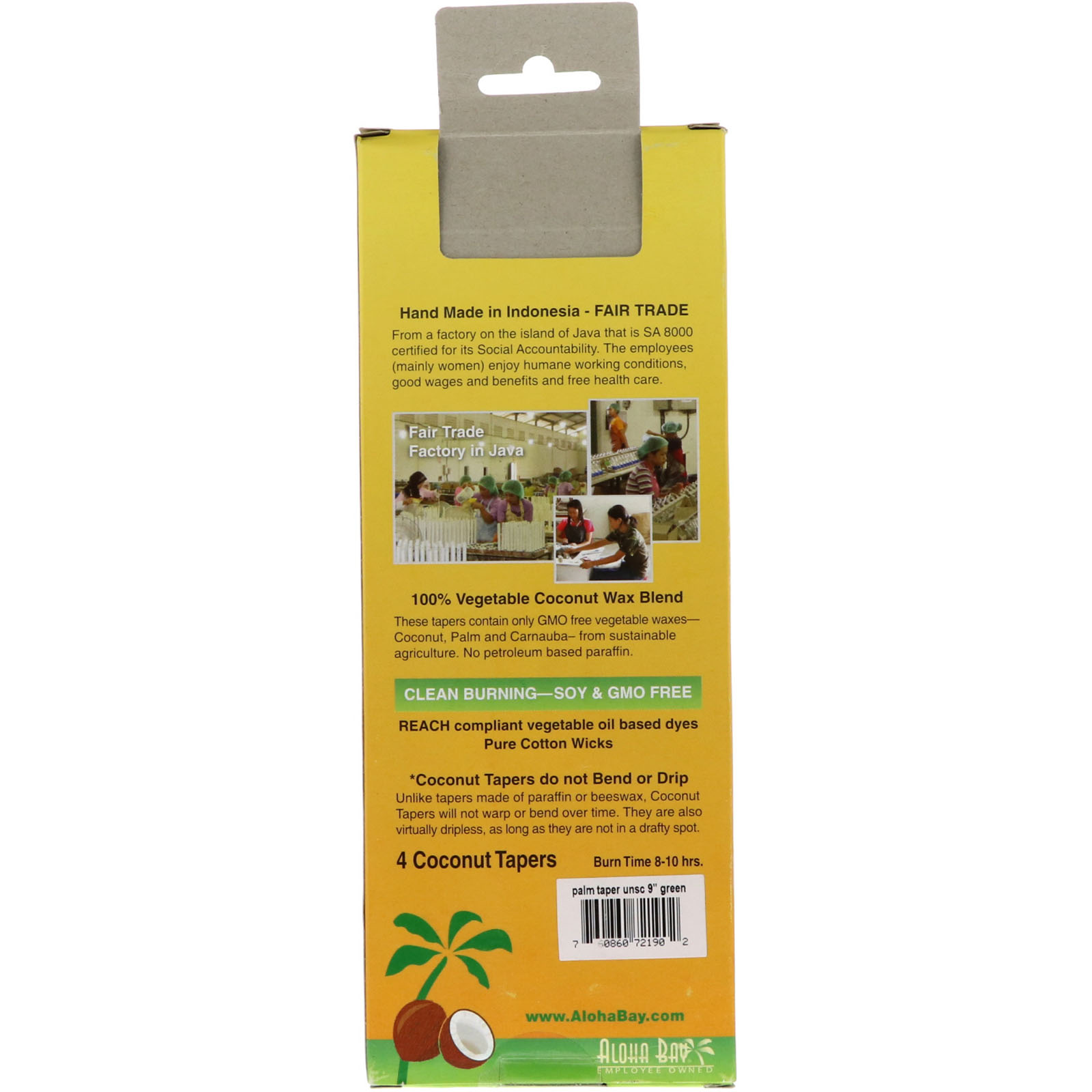 Aloha Bay, Dripless Taper Candles, Coconut Wax Blend, 4 Pack