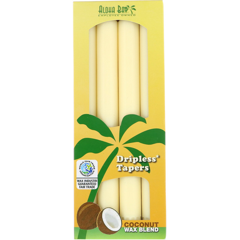 Dripless Coconut Tapers, Unscented, Cream, 4 Pack, 9 in (23 cm) Each