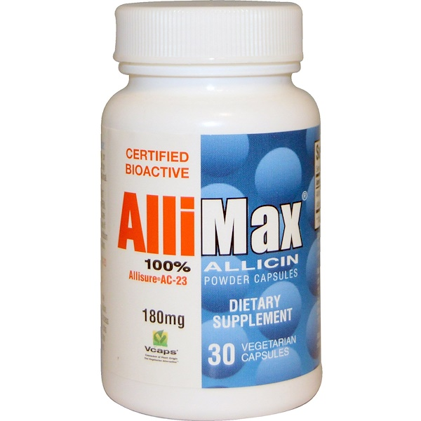 Allimax, 100% Allicin Powder Capsules, 180 mg, 30 Veggie Caps