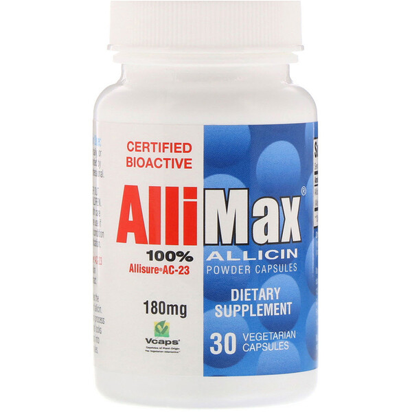 Allimax, 100% Allicin Powder Capsules, 180 mg, 30 Vegetarian Capsules