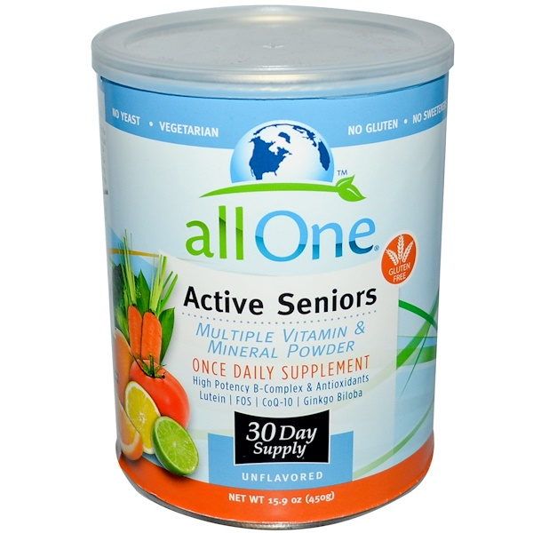 All One, Nutritech, Active Seniors, Multiple Vitamin & Mineral Powder, Unflavored, 15.9 oz (450 g) (Discontinued Item)