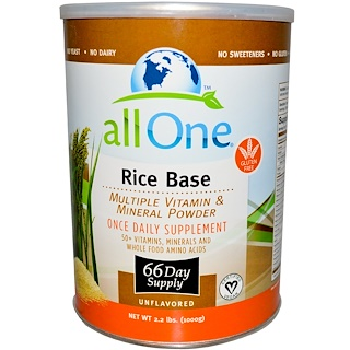 All One, Nutritech, Rice Base, Multiple Vitamin & Mineral Powder, Unflavored, 2.2 lbs (1000 g)