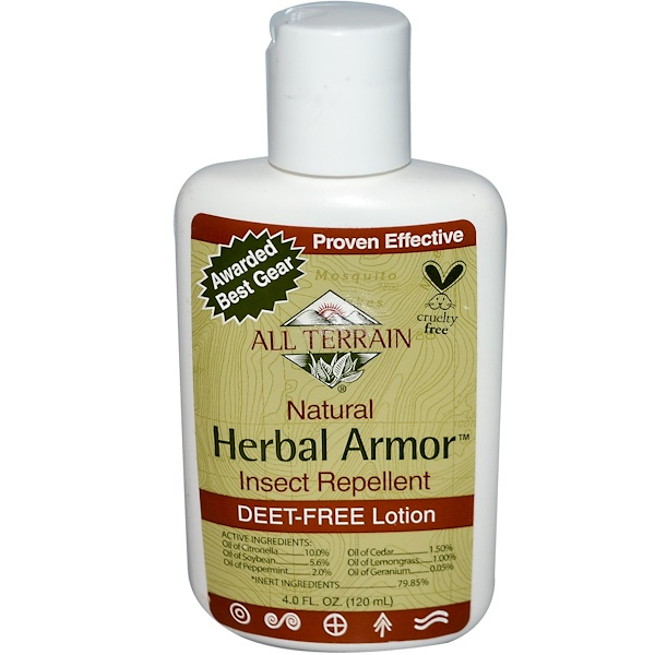 All Terrain, Herbal Armor, Insect Repellent, Deet- Free Lotion, 4 fl oz (120 ml) (Discontinued Item)