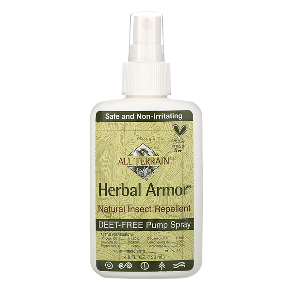 All Terrain, Herbal Armor, spray repelente de insectos natural sin Deet, 4 fl oz (120 ml)