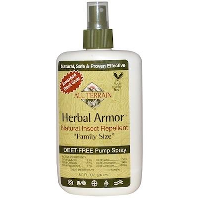 Herbal Armor, Натуральное средство от насекомых, без ДЭТА, спрей, 8,0 жидких унций (240 мл)