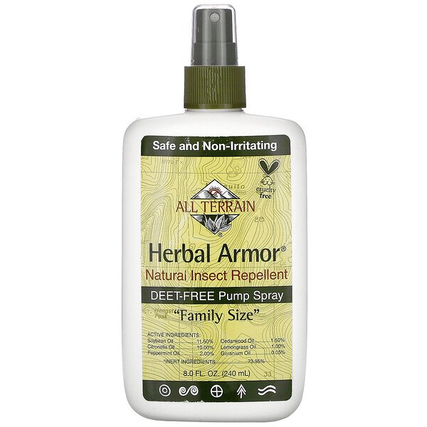 Herbal Armor, Repelente de Insectos Natural, Sin DEET Pulverizador, 8.0 fl oz (240 ml)
