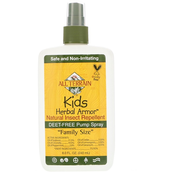 Armadura herbal para niños, repelente de insectos natural, 8 fl. Oz (240 ml)