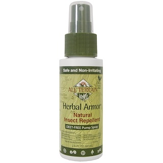 All Terrain, Herbal Armor, DEET 없는 펌프 스프레이 방충제, 2.0 fl oz (60 ml)