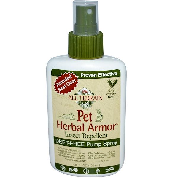 All Terrain, Pet Herbal Armor, спрей против насекомых, Deet-Free 4.0 жидких унции (120 мл) (Discontinued Item)