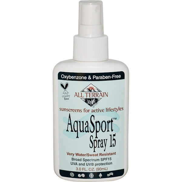 All Terrain, AquaSport Spray, Sunscreen for Active Lifestyles, SPF 15, 3.0 fl oz (90 ml) (Discontinued Item)