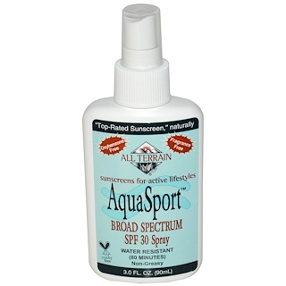 All Terrain, AquaSport, Broad Spectrum SPF 30 Spray, Fragrance Free, 3.0 fl oz (90 ml)