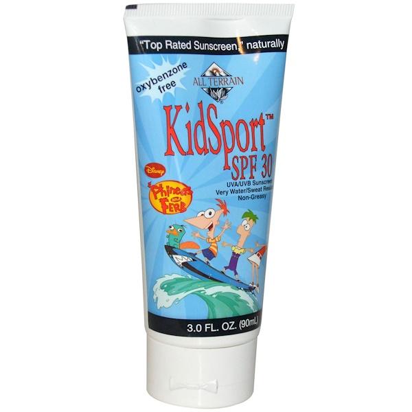 All Terrain, KidSport, Disney Phineas & Ferb Sunscreen, SPF 30, 3.0 fl oz (90 ml) (Discontinued Item)