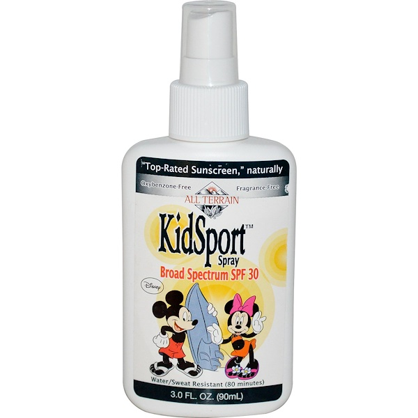 All Terrain, Mickey and Minnie Mouse, KidSport Spray, SPF 30, Fragrance Free, 3.0 fl oz (90 ml) (Discontinued Item)