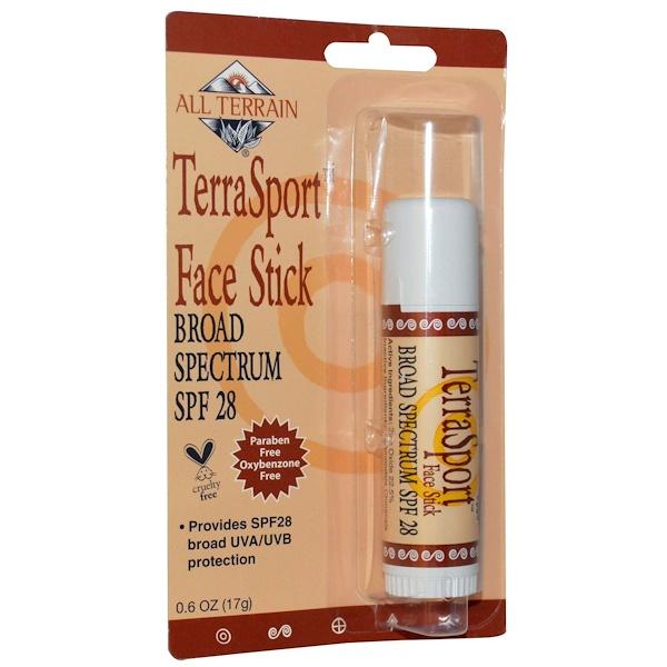 All Terrain, TerraSport Face Stick SPF 28, 0.6 oz (17 g) (Discontinued Item)