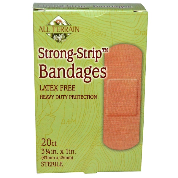 All Terrain, Strong-Strip Bandages, Sterile, 20 Count, 3 1/4 in x 1 in (83 mm x 25 mm) (Discontinued Item)