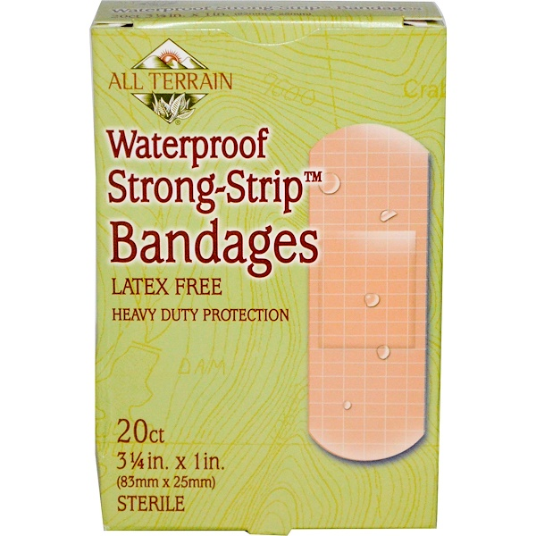 All Terrain, Waterproof Strong-Strip Bandages, Latex Free, 20 Count