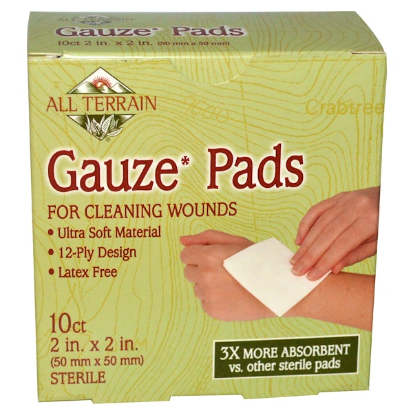 All Terrain, Gauze Pads, 10 Count, 2 in x 2 in (50 mm x 50 mm) (Discontinued Item)