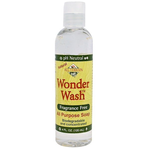 All Terrain, Wonder Wash, Fragrance Free, All Purpose Soap, 4 fl oz (118 ml) (Discontinued Item)