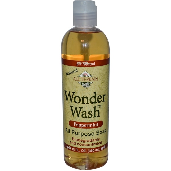 All Terrain, Wonder Wash, Peppermint, All Purpose Soap, 4 fl oz (120 ml) (Discontinued Item)