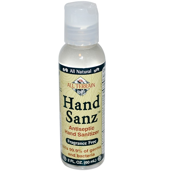 All Terrain, Hand Sanz, Antiseptic Hand Sanitizer, Fragrance Free, 2 fl oz (60 ml) (Discontinued Item)