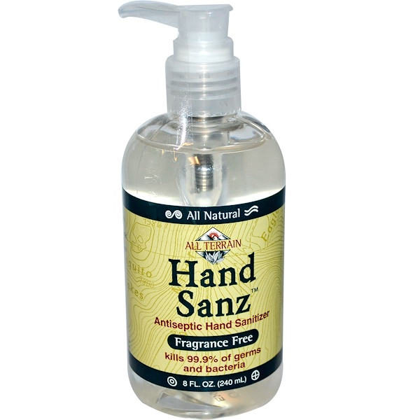 All Terrain, Hand Sanz, Antiseptic Hand Sanitizer, Fragrance Free, 8 fl oz (240 ml) (Discontinued Item)