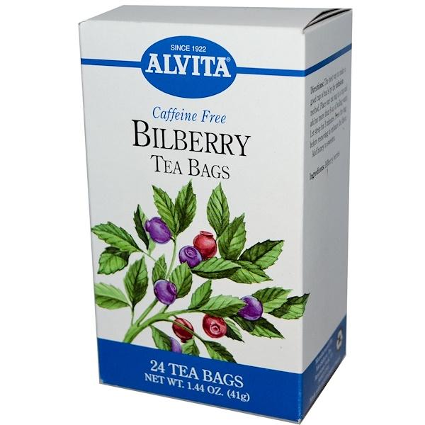 Alvita Teas, Bilberry, Caffeine Free, 24 Tea Bags, 1.44 oz (41 g) (Discontinued Item)