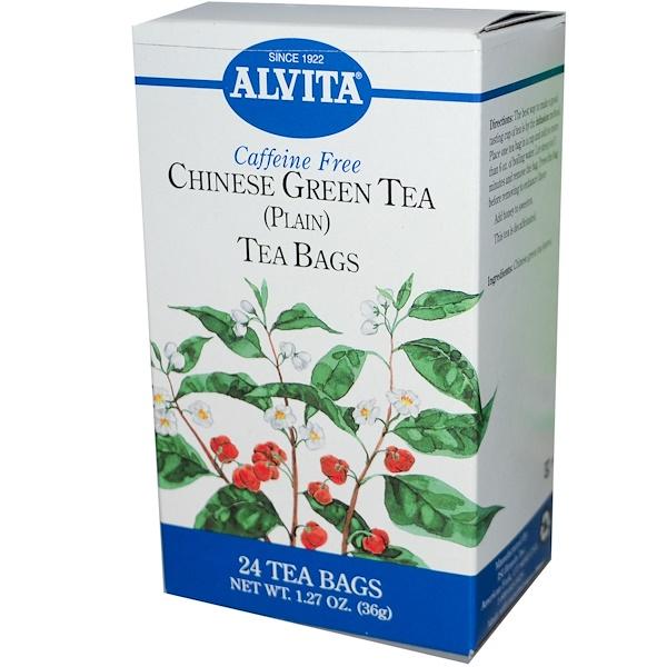 Alvita Teas, Chinese Green Tea, (Plain), Caffeine Free, 24 Tea Bags, 1.27 oz (36 g) (Discontinued Item)