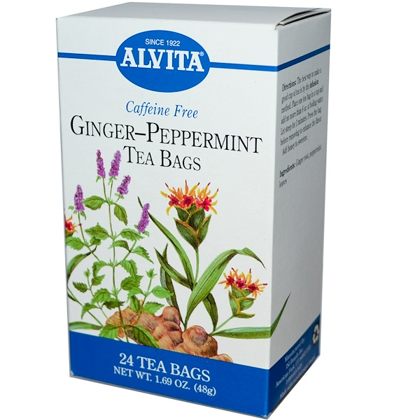 Alvita Teas, Ginger-Peppermint, Caffeine Free, 24 Tea Bags, 1.69 oz (48 g) (Discontinued Item)