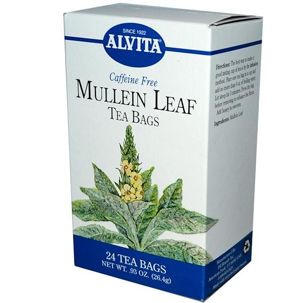 Alvita Teas, Mullein Leaf, Caffeine Free, 24 Tea Bags, .93 oz (26.4 g) (Discontinued Item)