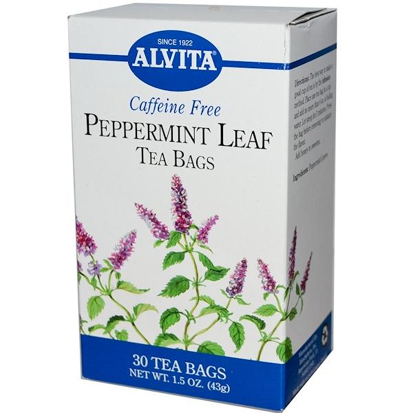 Alvita Teas, Peppermint Leaf, Caffeine Free, 30 Tea Bags, 1.5 oz (43 g) (Discontinued Item)