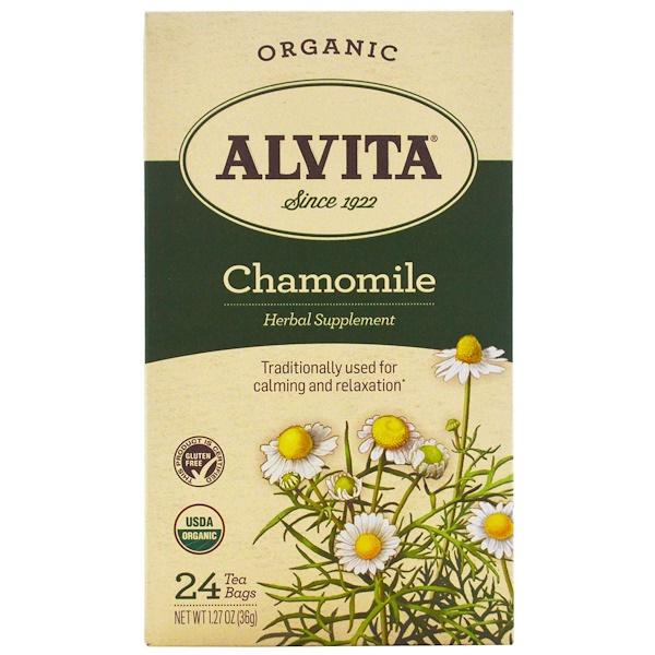 Alvita Teas, オーガニック、カモミールティー、カフェインフリー、ティーバック24袋、1.27オンス(36 g) (Discontinued Item)