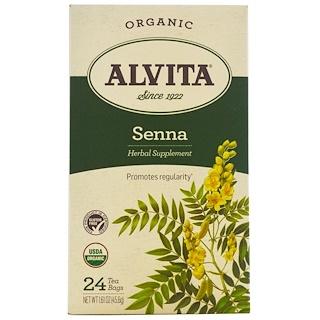 Alvita Teas, Orgánico, Té de Senna, Sin Cafeína, 24 Bolsitas de Té, 1.61 oz (45.6 g)