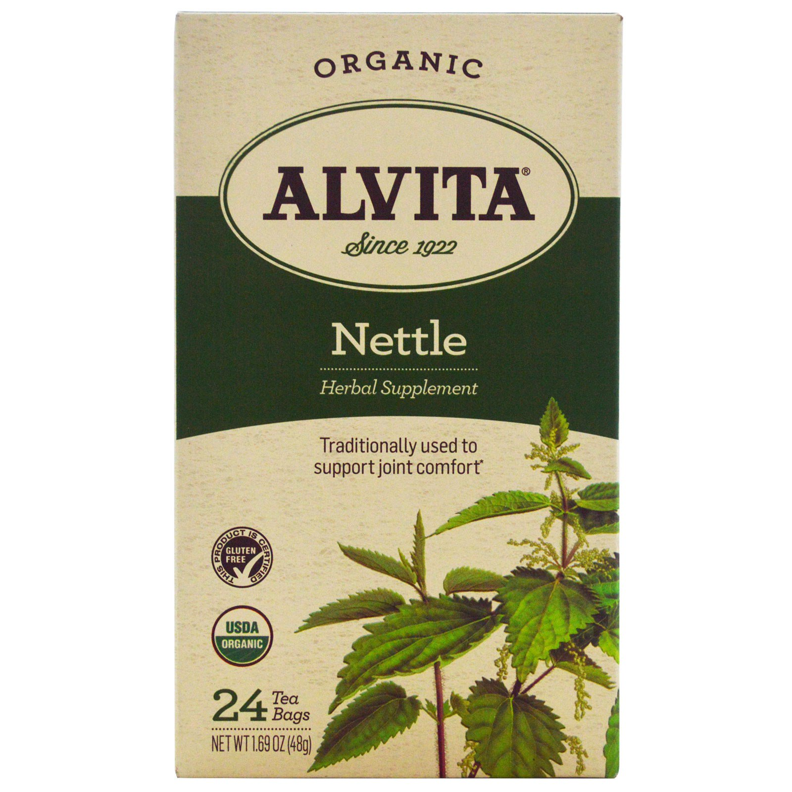 Alvita Teas, Organic, чай с крапивой, без кофеина, 24 чайных пакетика, по 1,69 унции (48 г) каждый