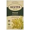 Alvita Teas, Органический чай с фенхелем, без кофеина, 24 пакетика, 1,98 унции (56 г)