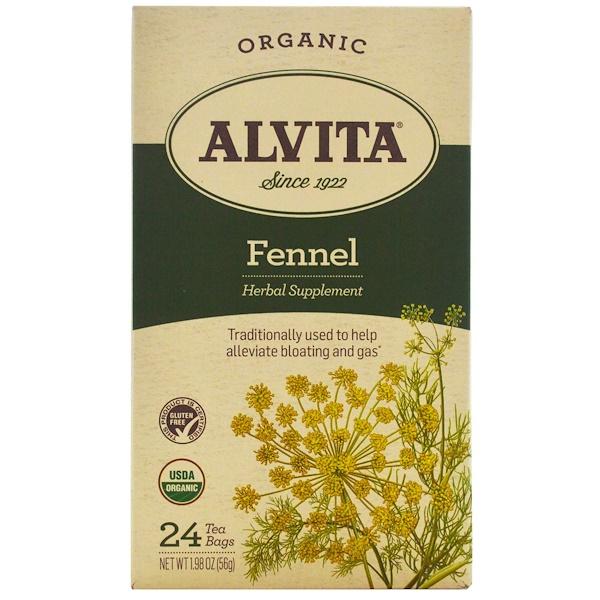Alvita Teas, 有機,茴香茶,不含咖啡因,24包,1、98盎司(56克)