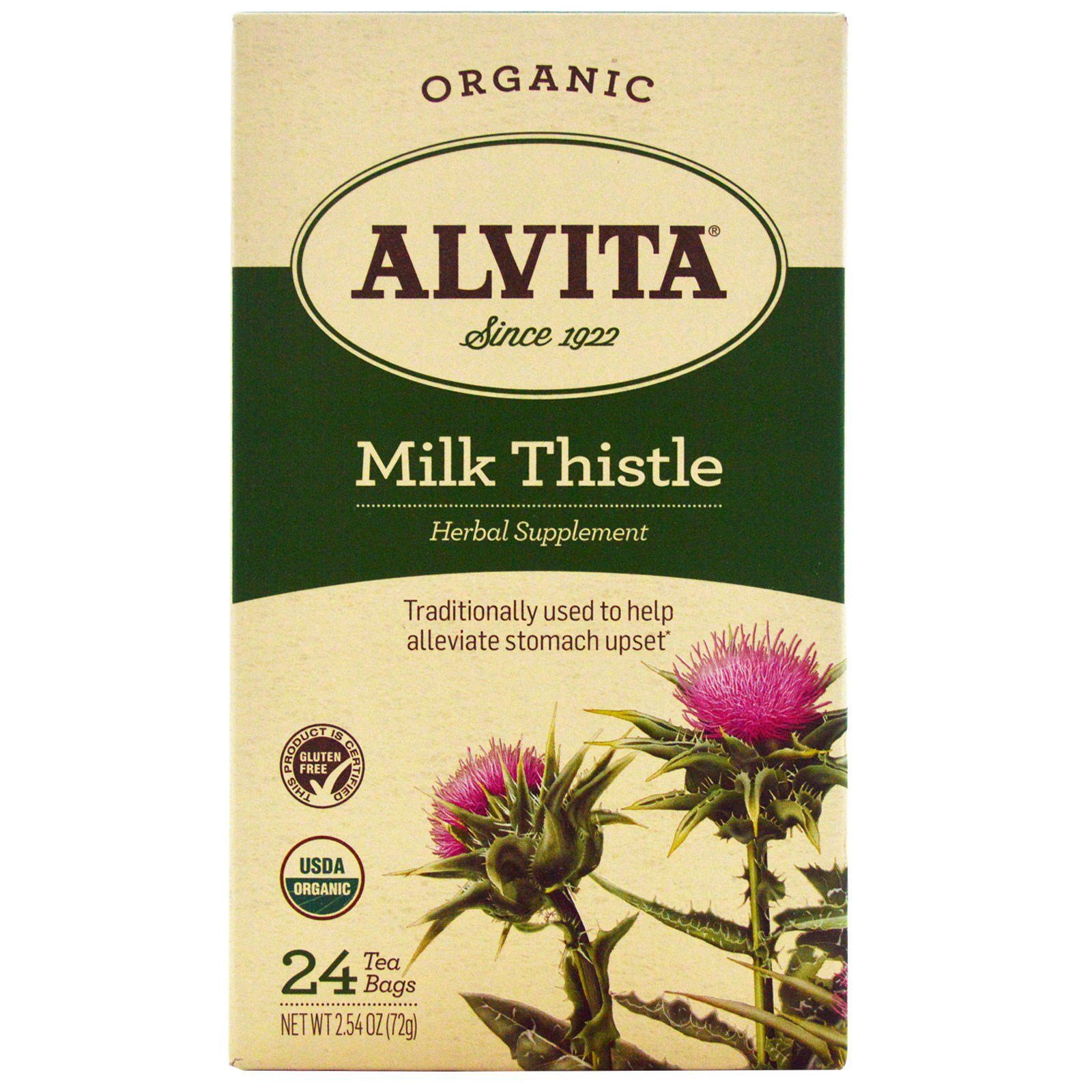Alvita Teas, Organic, чай из расторопши, без кофеина, 24 чайных пакетика по 1,69 унции (48 г) каждый
