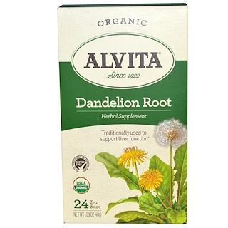 Alvita Teas, ダンデライオンルート,オーガニック,カフェインフリー, 24 ティーバッグ, 1.69 oz (48 g)