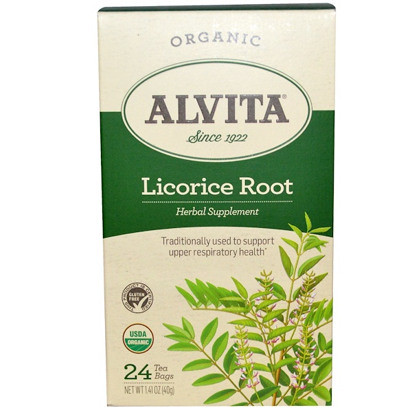 Alvita Teas, Organic Licorice Root, Caffeine Free, 24 Tea Bags, 1.41 oz (40 g) (Discontinued Item)