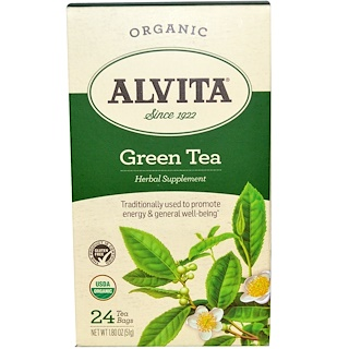 Alvita Teas, Green Tea, Organic, 24 Bags, 1.80 oz (51 g)
